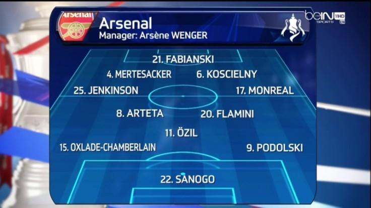 Beaucoup de changements chez les Gunners. Flamini retrouve sa place dans l'entrejeu aux côtés d'Arteta. Podolski fait également son retour à gauche, tout comme Jenkinson qui remplace Sagna. Yaya Sanogo, lui connaît sa première titularisation, aux dépends de Giroud.